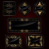 guld- set för ram royaltyfri illustrationer