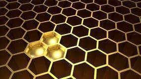 Guld- sexhörnig honungskaka med fullt hål tre med guld vektor illustrationer