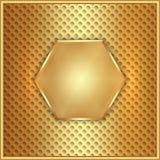 Guld- sexhörning för vektorabstrakt begreppmetall med celler Royaltyfria Bilder