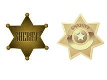 guld- sheriff för emblem Royaltyfri Illustrationer