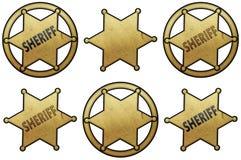 Guld- sheriff Stars Royaltyfri Bild