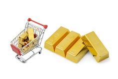 Guld- shopping Royaltyfria Foton