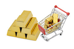 Guld- shopping royaltyfria bilder