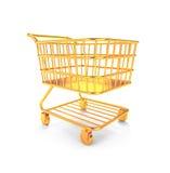 Guld- shoppingvagn vektor illustrationer