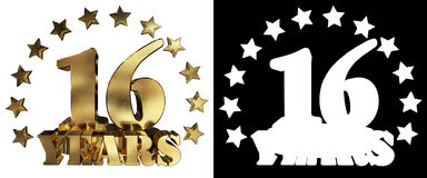 Guld- siffra sexton och ordet av året som dekoreras med stjärnor illustration 3d Arkivbild