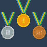 Guld silver, bronsmedaljer Royaltyfri Bild