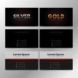 Guld- silver för personligt kort för företagsaffärspresentation Arkivbilder