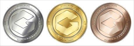 Guld, silver och brons Go Network FICK cryptocurrencymyntet myntuppsättning vektor illustrationer