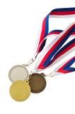 Guld, silver och bronsmedaljer Arkivfoto