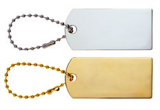 Guld- & silveretiketter eller etiketter eller berlock Arkivbilder