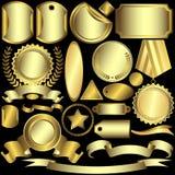guld- silvrig vektor för etikettset Royaltyfri Bild