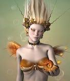 Guld- sjöjungfru royaltyfri illustrationer