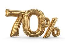 Guld- sjuttio procent gjorde av uppblåsbara ballonger Procentuppsättning 3d vektor illustrationer