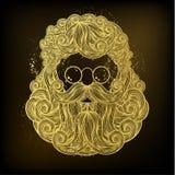 Guld- skägg och mustasch av Santa Claus vektor illustrationer