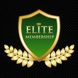 Guld- sköld för elitmedlemskap med ett lager Royaltyfri Illustrationer