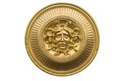 Guld- sköld för Medusa Arkivfoto