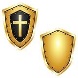 Guld- sköldar med korset Vektor Illustrationer