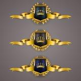 Guld- sköldar med lagerkransen Royaltyfri Fotografi