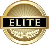 Guld- sköldetikett för elit med ett lager Royaltyfri Illustrationer