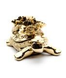 Guld- sköldpadda för porslin, på vit bakgrund Royaltyfri Fotografi