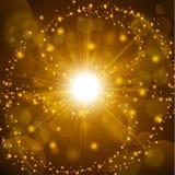 Guld- sken med linssignalljusbakgrund Arkivbilder