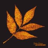 Guld- skimra glödande Ash Tree Leaf Vector royaltyfri illustrationer