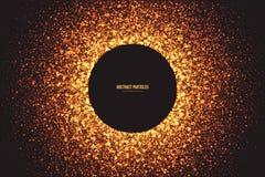 Guld- skimra glödande rund partikelvektorbakgrund vektor illustrationer