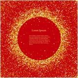Guld- skinande cirklar för Celebratory designbeståndsdel på en röd bakgrund vektor illustrationer