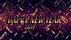 Guld- skinande festligt kort för nytt år Glödande bakgrund med bokehstil för säsongsbetonade hälsningar royaltyfri foto