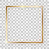 Guld- skinande fyrkantig ram med glödande effekter stock illustrationer