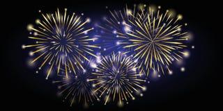 Guld- skinande fyrverkeri för nytt år på natten stock illustrationer