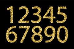 Guld- skinande texturerade nummer royaltyfri illustrationer
