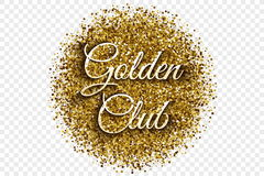 Guld- skinande Tinsel Banner Vector Background Arkivfoton