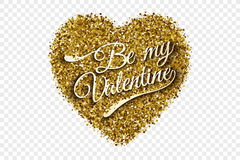 Guld- skinande Tinsel Heart Vector Background Arkivfoton