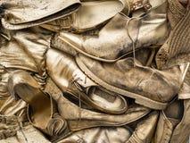 Guld- skor i en korg royaltyfri fotografi