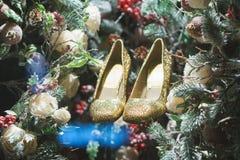 Guld- skor i julgran, snö och garneringar Arkivfoton