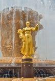 Guld- skulptur på springbrunnkamratskapet av folk royaltyfri foto