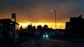 Guld- skys Fotografering för Bildbyråer