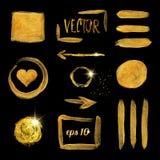 Guld- slaglängd för målarfärgborste och fläckuppsättning vektor royaltyfri illustrationer