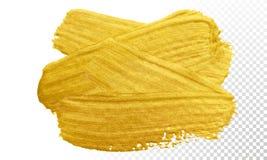Guld- slaglängd för sudd för vektor för målarfärgborste Guld- färgfläck för akryl på genomskinlig bakgrund Abstrakt vektorguld so vektor illustrationer