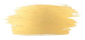 Guld- slaglängd för vattenfärgtexturborste Arkivbilder