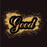 guld- slingrande på svart bakgrund, goda royaltyfri illustrationer
