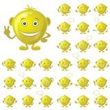 Guld- smileys, uppsättning stock illustrationer