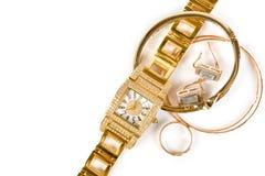 guld- smycken för klocka Royaltyfria Bilder