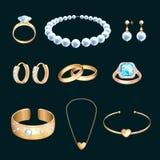 Guld- smycken och ädelstenar, vektortecknad filmillustration Ställ in av diamanthalsbandet, kedja och vigselringar vektor illustrationer