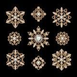 Guld- smyckenuppsättning Arkivbilder