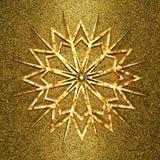 Guld- snöflinga på den åldriga gulden Royaltyfria Bilder