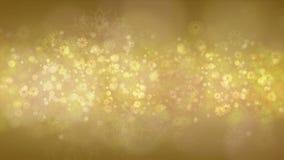 Guld- snöflingabakgrund stock video