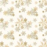 Guld- snöflingajul sömlös modell, vektorbakgrund royaltyfria bilder