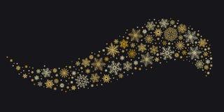 Guld- snöflingavåg Guld- snöflingor strömmar, övervintrar bakgrund för vektorn för snögåvakortet isolerad vektor illustrationer